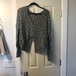Express cropped sweater with cut up the back